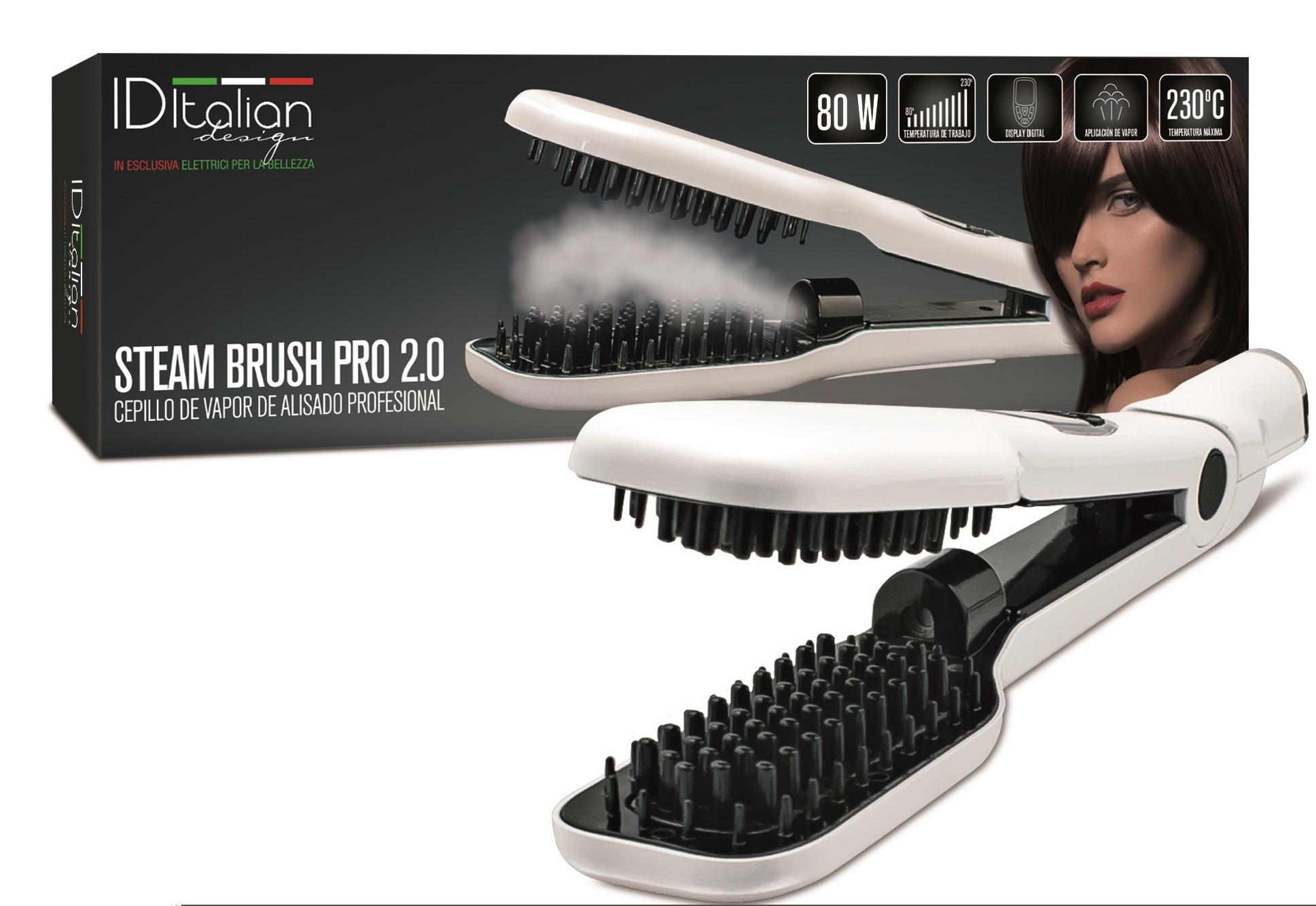 ea04bc2fb Cepillo profesional Plancha de Pelo Alisado Plancha De Vapor IDItalian  Steam Brush 2.0